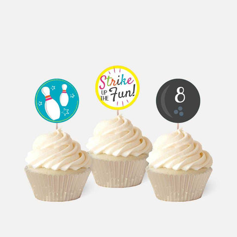 Cosmic Bowling Kids Party Cupcake Topper Printable Template