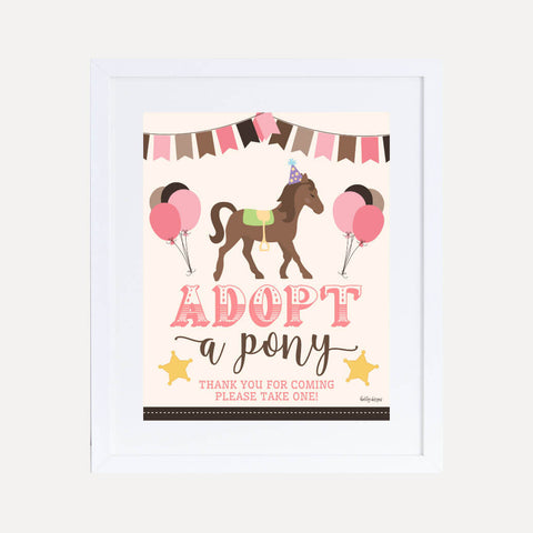 Cowgirl Kids Party Favors Sign Printable Template