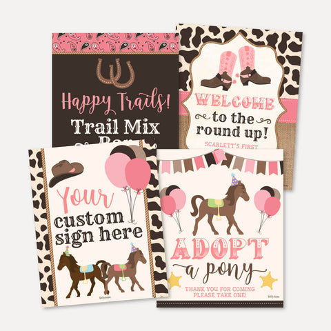 Cowgirl Kids Party Sign Set Printable Template