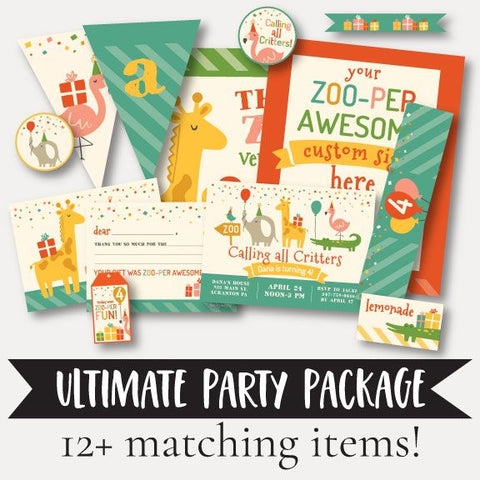 Critters Zoo Kids Party Complete Package Set Printable Template