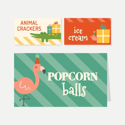 Critters Zoo Kids Party Food Tent Cards Printable Template