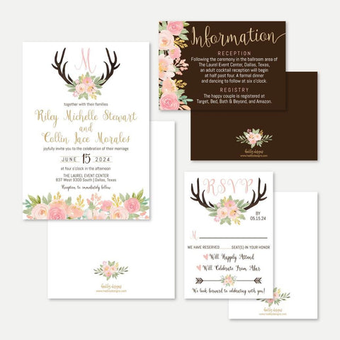 Deer Antler Wedding Invitation Suite Printable Template