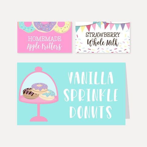 Donut Kids Party Food Tent Cards Printable Template