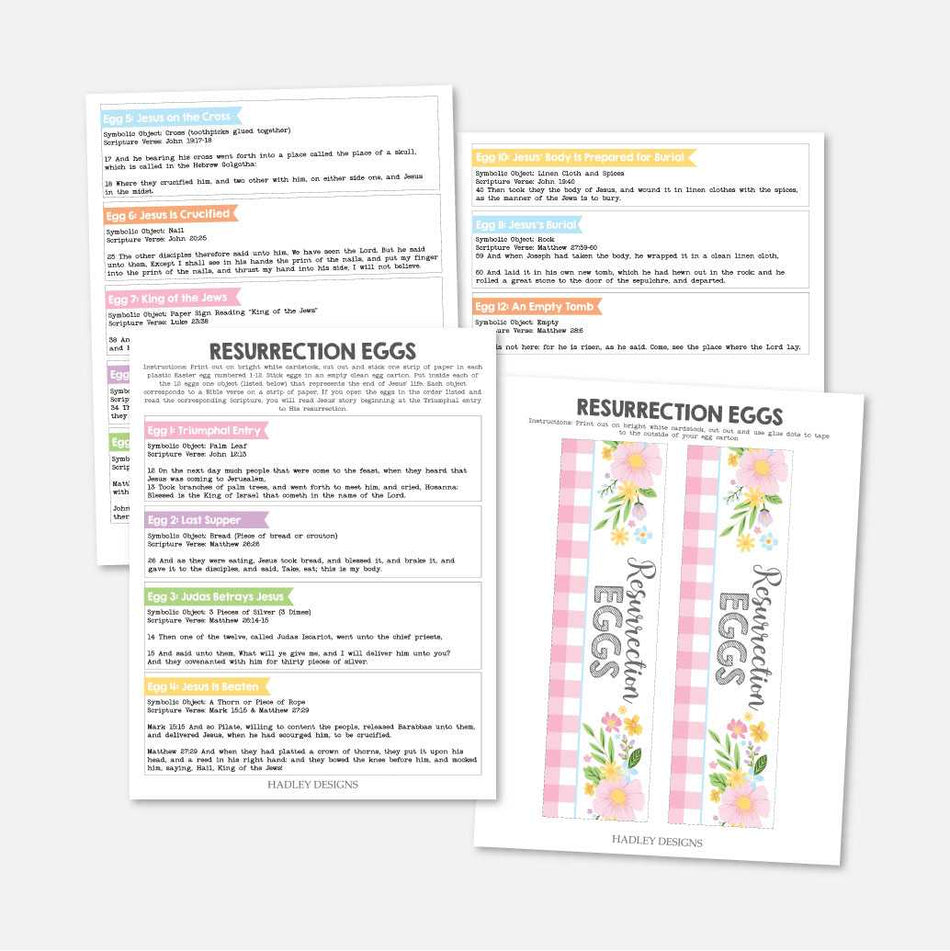 This is an image of Resurrection Egg Story Printable with family life