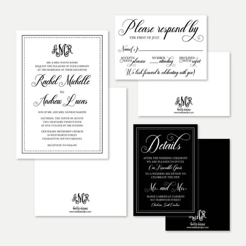 Elegant Monogram Wedding Invitation Suite Printable Template