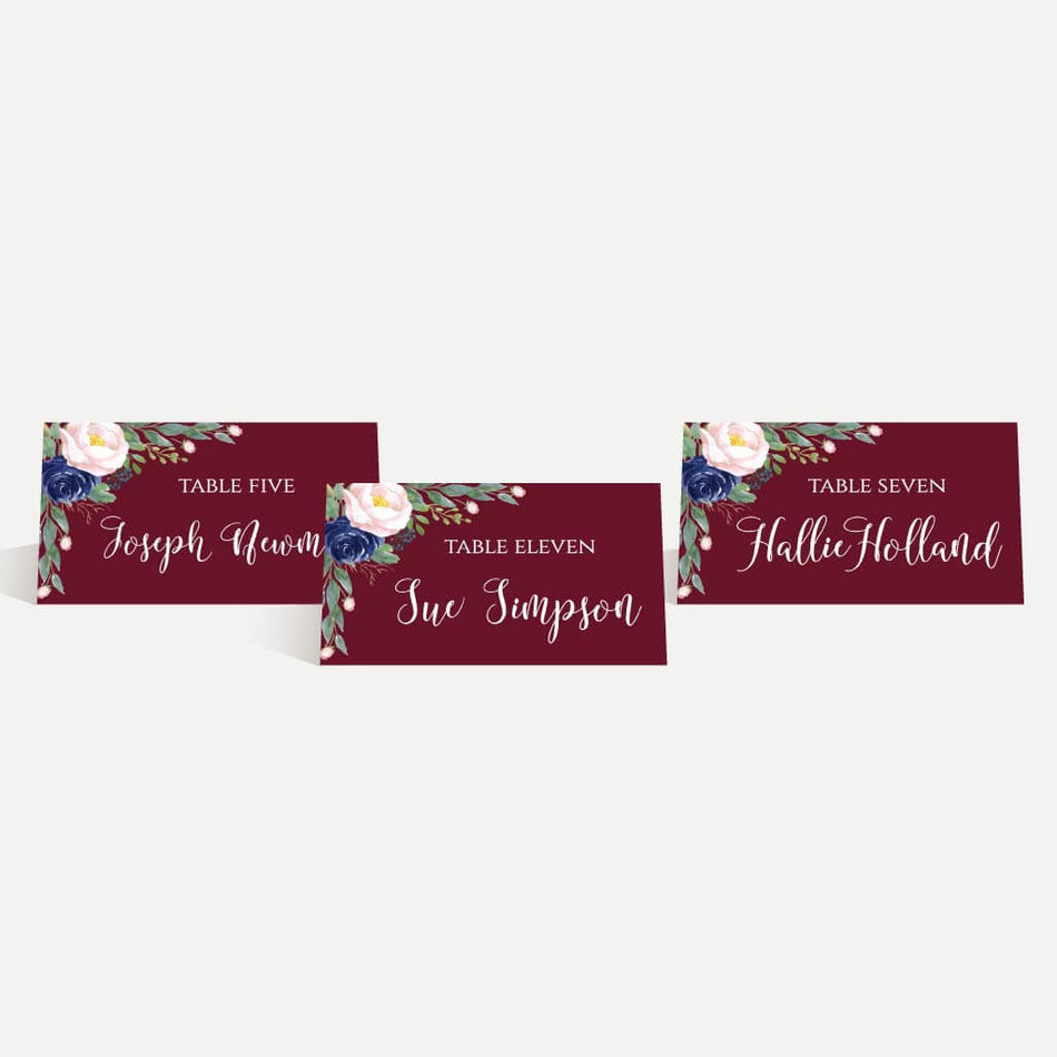 Printable Elegant Navy And Burgundy Wedding Place Cards Template Hadley Designs