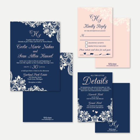 Elegant Navy and Blush Lace Wedding Invitation Suite Printable Template