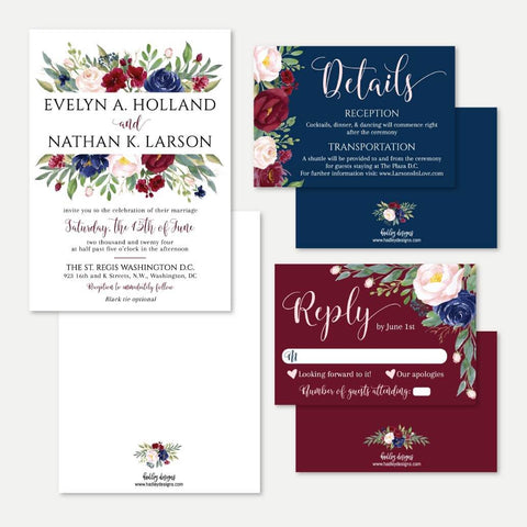 Elegant Navy and Burgundy Wedding Invitation Suite Printable Template