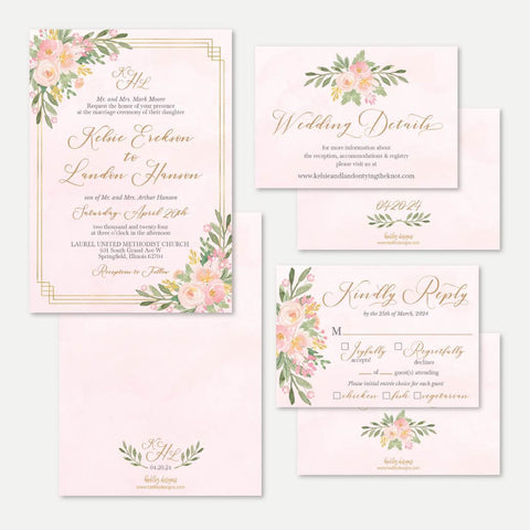 Elegant Pink Gold Floral Wedding Invitation Suite Printable Template