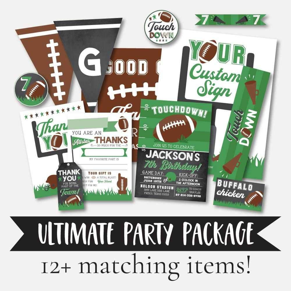 Field Football Kids Party Complete Package Set Printable Template