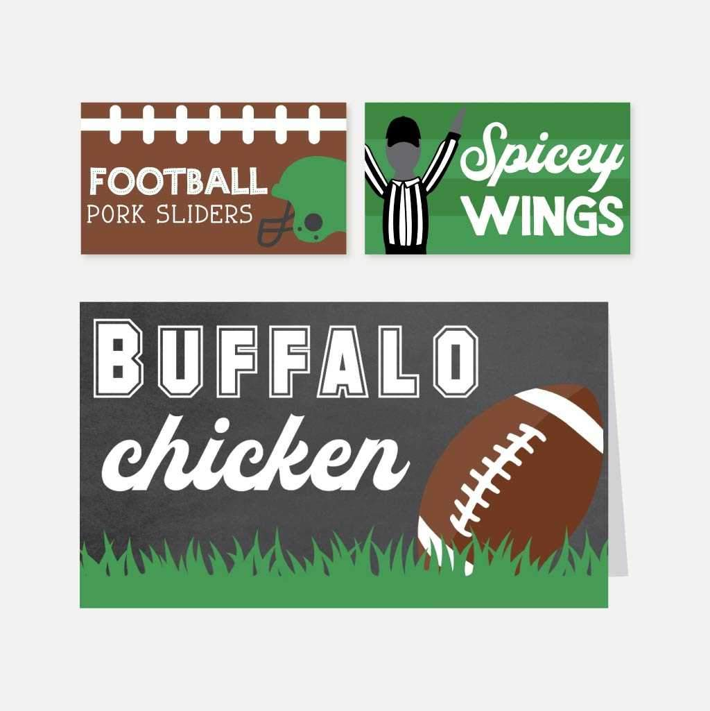 Field Football Kids Party Food Tent Cards Printable Template