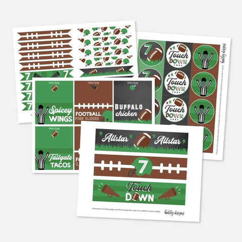 Field Football Kids Party Accessories and Decor Printable Template
