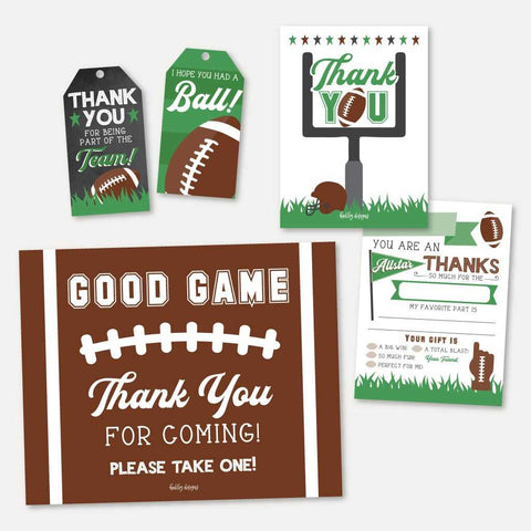 Field Football Kids Party Thank You Package Set Printable Template