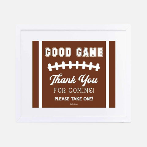 Field Football Kids Party Favors Sign Printable Template