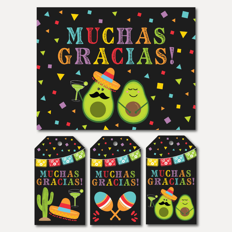 Printable Fiesta Baby Shower Thank You Card And Favor Tags Templates Hadley Designs