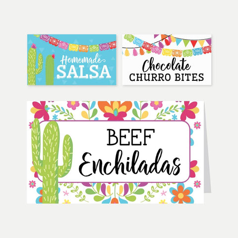 Fiesta Kids Party Food Tent Cards Printable Template