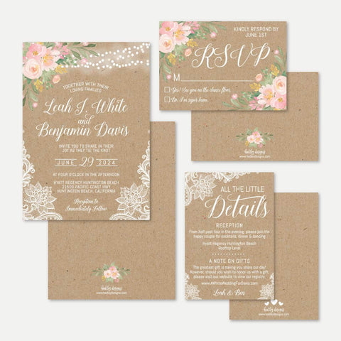 Floral Kraft Lace Rustic Wedding Invitation Suite Printable Template