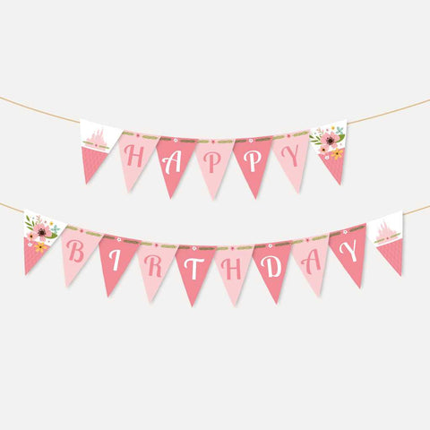 Floral Princess Kids Party Banner Printable Template