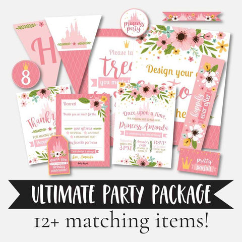 Floral Princess Kids Party Complete Package Set Printable Template