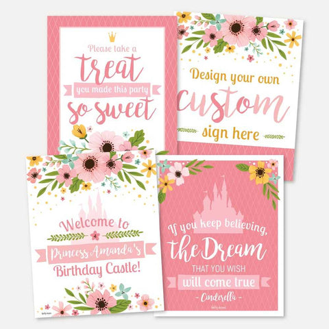 Floral Princess Kids Party Sign Set Printable Template