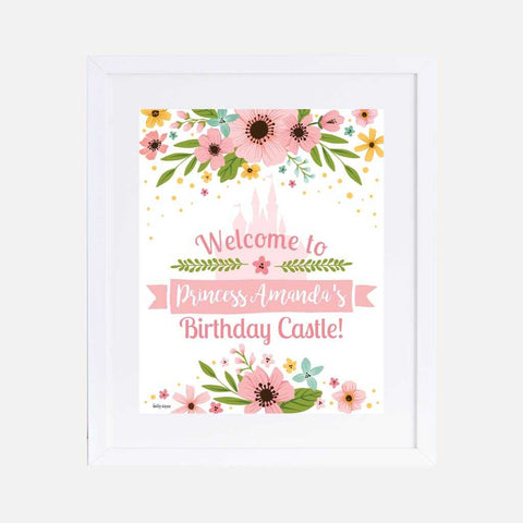 Floral Princess Kids Party Welcome Sign Printable Template