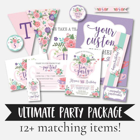 Floral Tea Kids Party Complete Package Set Printable Template