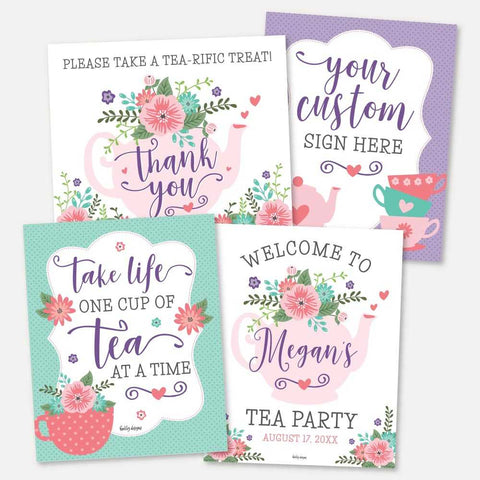 Floral Tea Kids Party Sign Set Printable Template