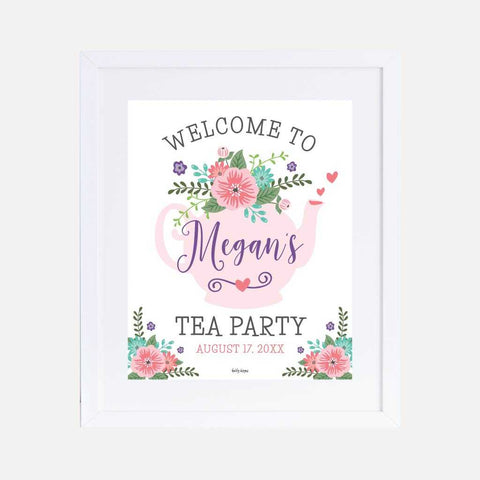 Floral Tea Kids Party Welcome Sign Printable Template