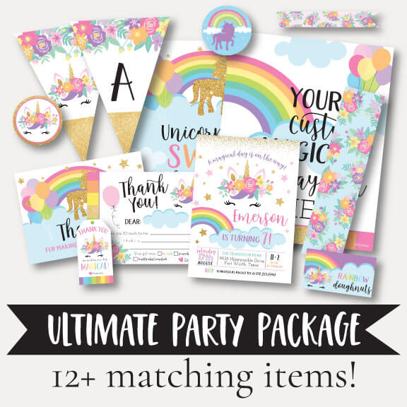 Floral Unicorn Kids Party Complete Package Set Printable Template