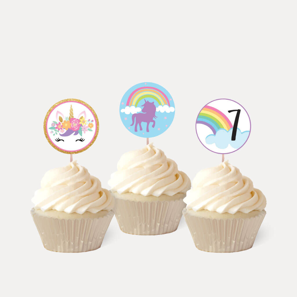 Floral Unicorn Kids Party Cupcake Topper Printable Template