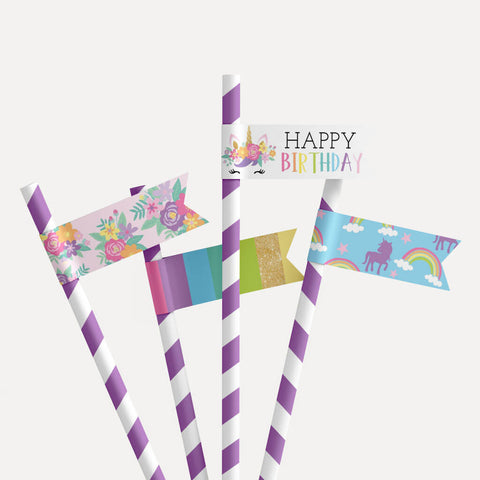Floral Unicorn Kids Party Straw Flag Printable Template