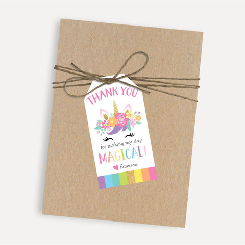 Floral Unicorn Kids Party Thank You Favor Tags Printable Template