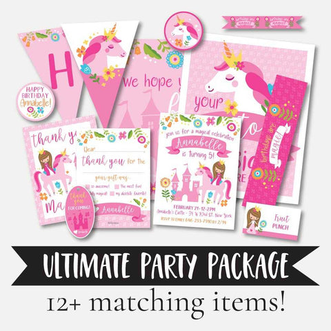 Unicorn Princess Kids Party Complete Package Set Printable Template