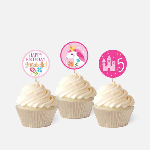 Unicorn Princess Kids Party Cupcake Topper Printable Template