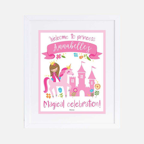 Unicorn Princess Kids Party Welcome Sign Printable Template