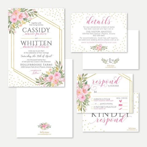 Geo Bright Pink Gold Wedding Invitation Suite Printable Template
