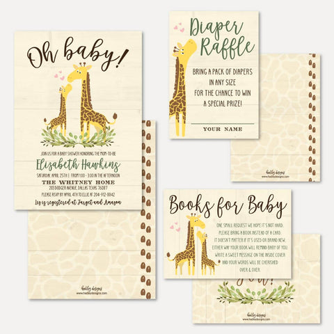 Giraffe Baby Shower Invitation Suite Printable Template