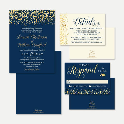 Gold Dots Navy Wedding Invitation Suite Printable Template
