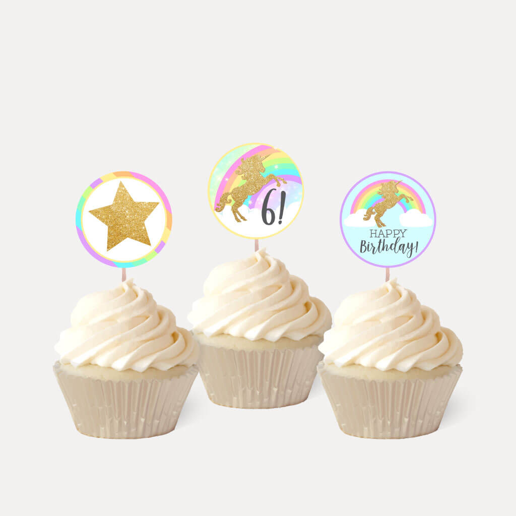 Gold Glitter Unicorn Kids Party Cupcake Topper Printable Template