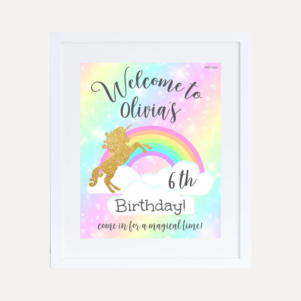 Gold Glitter Unicorn Kids Party Welcome Sign Printable Template