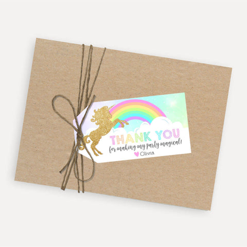 Gold Glitter Unicorn Kids Party Thank You Favor Tags Printable Template