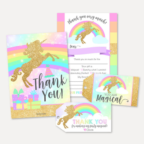 Gold Glitter Unicorn Kids Party Thank You Package Set Printable Template