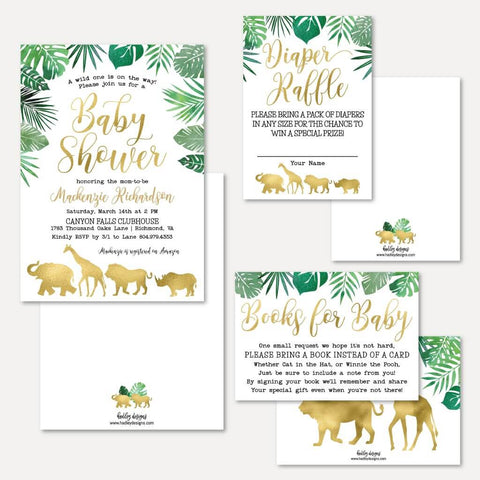 Gold Safari Baby Shower Invitation Suite Printable Template