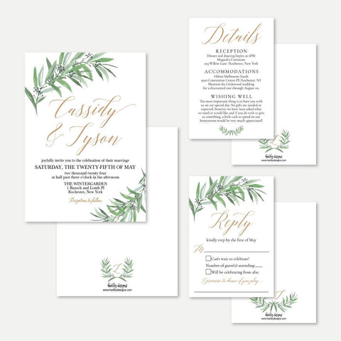 Greenery Wedding Invitation Suite Printable Template