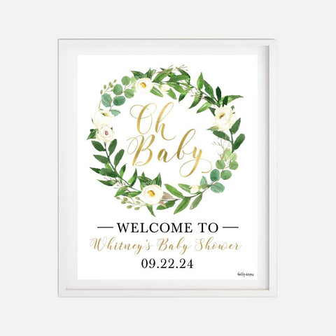 Boy or Girl Printable Large Welcome Sign Template Modern Greenery Editable Name /& Date MCP813 CJB Drive By Baby Shower Welcome Sign