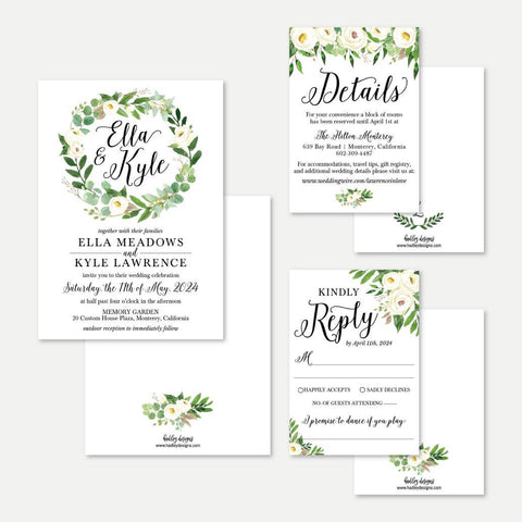 Greenery Wreath Wedding Invitation Suite Printable Template