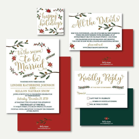 Holiday Wedding Invitation Suite Printable Template