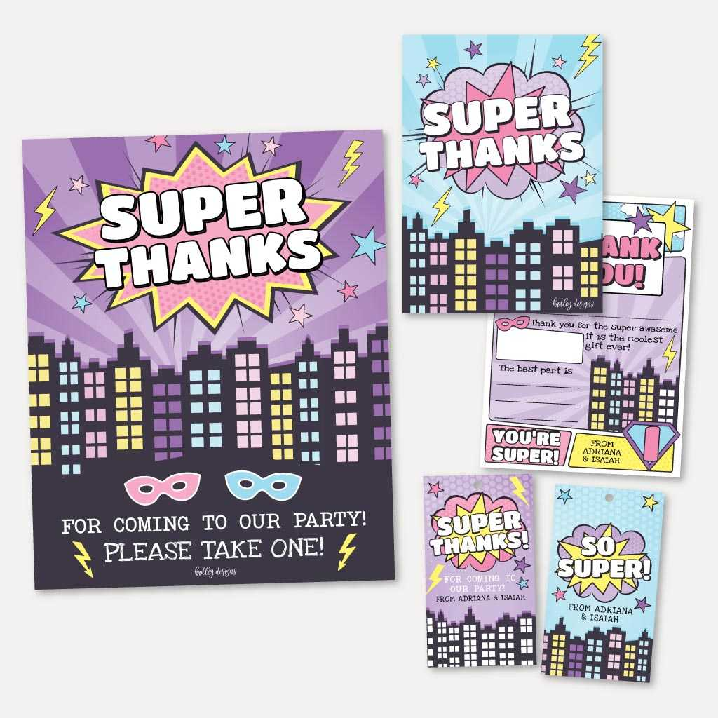 Joint Superhero Kids Party Thank You Package Set Printable Template