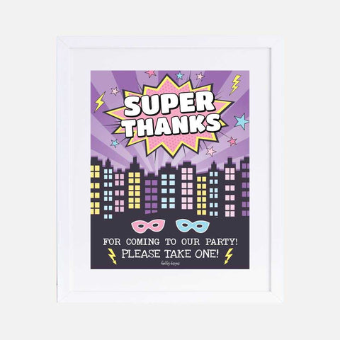 Joint Superhero Kids Party Favors Sign Printable Template