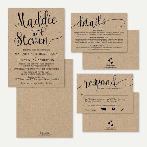 Kraft Calligraphy Wedding Invitation Suite Printable Template